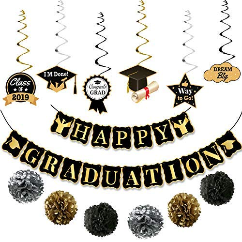 Happy Graduation Banner and Hanging Swirls Kit - Assembled, Graduation Hanging Decorations | Graduation Party Supplies 2019 | Graduation Decorations for College Grad, High School Seniors Party -