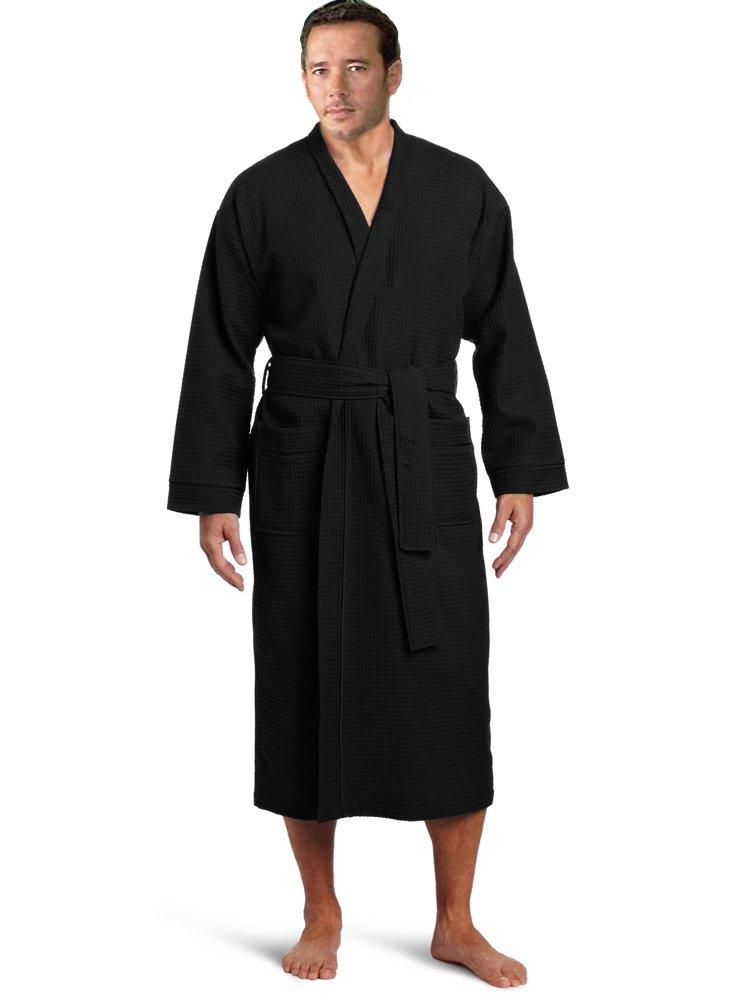Lightweight Waffle Kimono Robe Short Waffle Kimono Bathrobe Spa Robe Cover Up (Long: XXL Size, Upscale Black)