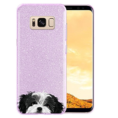 FINCIBO Case Compatible with Samsung Galaxy S8+ Plus G955 6.2 inch, Shiny Sparkling Purple Bling Glitter TPU Protector Cover Case for Galaxy S8+ Plus (NOT FIT S8) - Black White Shih Tzu Dog