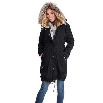 Btruely Abrigo de Invierno Mujer, Abrigo cálido Moda Costura de Mujeres Abrigo Largo con Capucha Cuello de Piel Jersey otoño Invierno Sudadera con Capucha ...