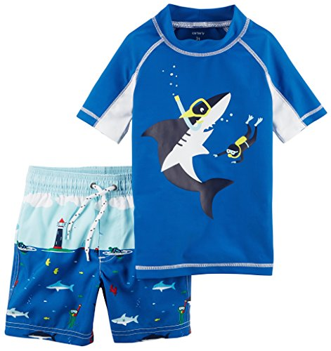 Carter's Toddler Boys' Rashguard Set, Blue Shark, 3T (Suits Swimwear Bathing Boys)