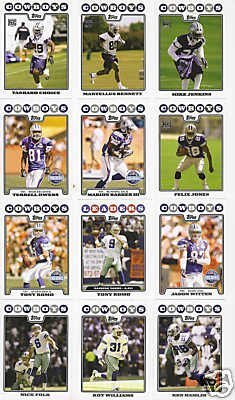 Dallas Cowboys Football Cards - 4 Years Of Topps Complete Team Sets 2005,2006,2007, 2008 - Includes Stars like Tony Romo & Terrell Owens, Rookies & More - Individually Packaged!