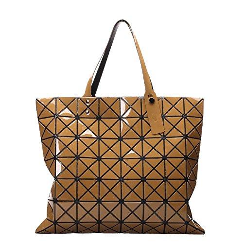 De Geometría Enrejado Moda De De Geometría Láser Brown Bolsa Bolsa Plegable Mano OCqAW