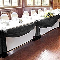 """Vlovelife Black 197""""x53"""" Sheer Organza Top Table Swag Fabric Table Runner Chair Sash Wedding Car Party Stair Bow Valance Decorations"""