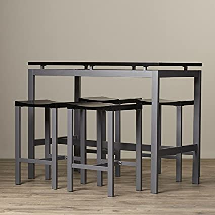 Pub Table Set 5 Piece Counter Height Dining Furniture Home Bar Table u0026 Stools Bistro Breakfast & Amazon.com: Pub Table Set 5 Piece Counter Height Dining Furniture ...