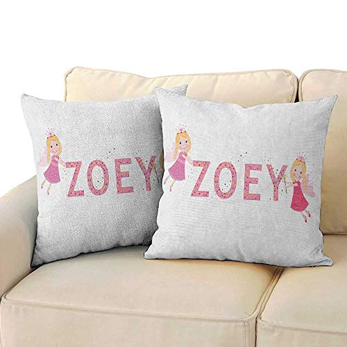 "RenteriaDecor Zoey,Custom Zippered Pillow Case Feminine Themed Baby Girl Name Magic Creatures Calligraphic Alphabet Letter Design 18""x 18""x2 Print Office Sofa Pillowcase Multicolor"