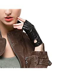 "Nappaglo Women's Driving Leather Gloves Nappa Leather Half Finger Fingerless Gloves Fitness Lined Gloves for Driving Cycling Motorcycling (M (Palm Girth:7.2""), Black)"