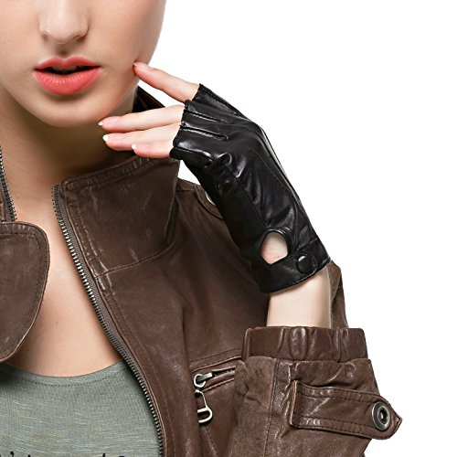- Nappaglo Women's Driving Leather Gloves Nappa Leather Half Finger Fingerless Gloves Fitness Lined Gloves for Driving Cycling Motorcycling (M (Palm Girth:7