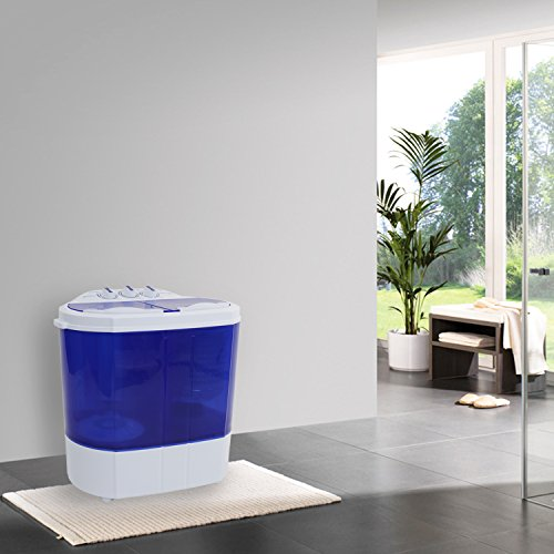 ROVSUN 10 LBS Portable Washing Machine with Twin Tub Electric Compact Mini Washer, Energy/Save Space, Laundry Spin Cycle w/Hose, Perfect for Home RV Camping Dorms College Room