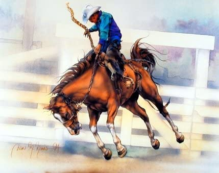 Western Cowboy Rodeo Riding Horse Picture Art Print 8x10