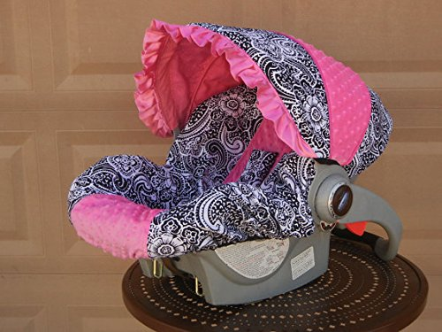 Infant Car Seat Cover, Baby Car Seat Cover, Slip Cover- Paisley & Hot Pink Minky!