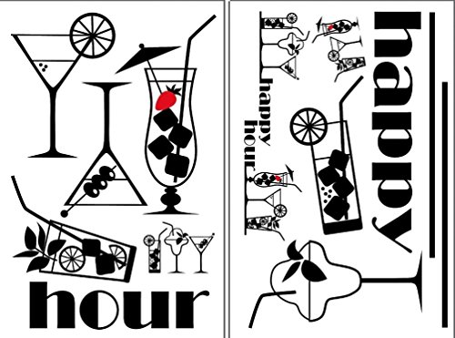Lunarland HAPPY HOUR 13 BiG Wall Decals WINE GLASS MARTINI BAR DRINK Room Decor Stickers - Happy Hour Invite