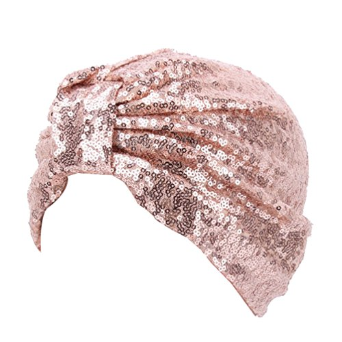 - Decou Sparkly Sequin Twist Pleated Hair Wrap Stretch Turban S232 (Skin pink)