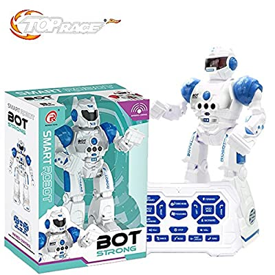 Top Race Title: Remote Control Robot For Kids - RC Robots With LED Lights, Infrared Control Toys; Singing, Dancing, Speaking, Two Walking Modes, Senses Gesture, Blue