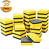TecUnite 30 Pack Magnetic Whiteboard Dry Eraser Chalkboard Cleansers Wiper for Classroom Office (Yellow, 2 x 2 Inch)