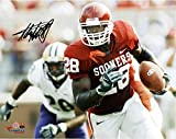 "Adrian Peterson Oklahoma Sooners Autographed 8"" x 10"" Horizontal Crimson Uniform Photograph - Fanatics Authentic Certified"