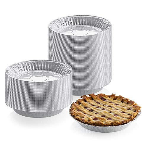 9 inch x 1 inch Medium Depth Aluminum Silver Foil Pie Pan (Pack of 25) – Disposable Round Tin Plates for Pies, Tart Quiche, Cheese Cake and Deserts, Perfect for Pie Fundraisers