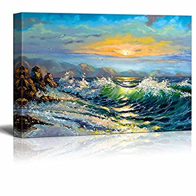 Lovely Artistry, Original Creation, Big Waves in The Sea Oil Painting Style Wall Decor