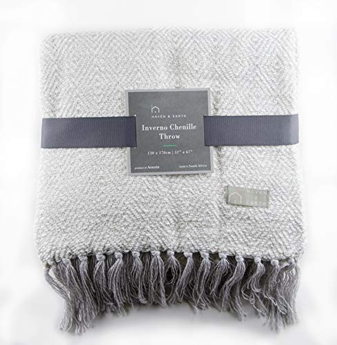 Haven & Earth Decorative Throw Blanket for Couch or Bed, Silver Charcoal INVERNO CHENILLE LUSTRE (51