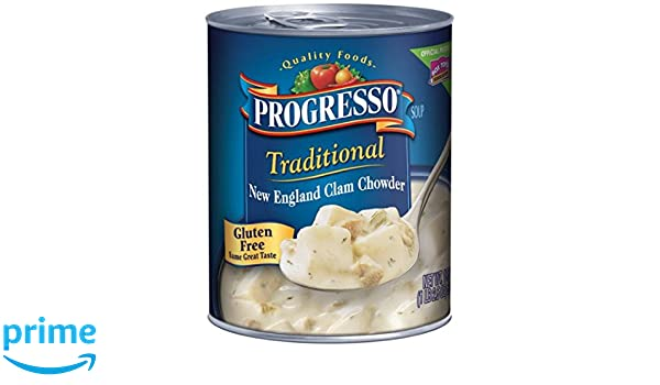 Progresso Traditional Soup, New England Clam Chowder 18.5 oz Cans (Pack of 2): Amazon.com: Grocery & Gourmet Food
