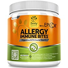 Allergy Immune Supplement for Dogs - with Omega 3 Wild Alaskan Salmon Fish Oil & EpiCor + Digestive Prebiotics & Probiotics - Anti Itch & Skin Hot Spots + Seasonal Allergies - Lamb Flavor - 90 Chews