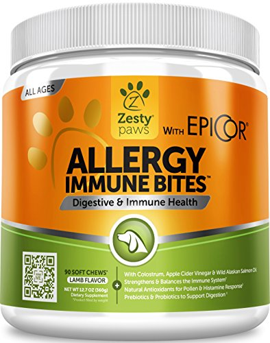 Allergy Immune Supplement for Dogs - with Omega 3 Wild Alaskan Salmon Fish Oil & EpiCor + Digestive Prebiotics & Probiotics - Anti Itch & Skin Hot Spots + Seasonal Allergies - Lamb Flavor - 90 Chews
