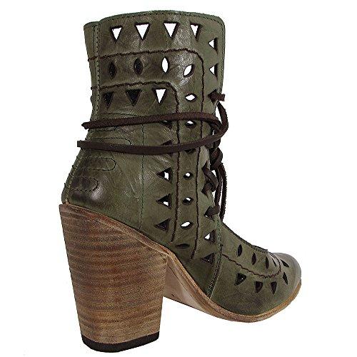 Flute Green Heel High Shoes Steven Cutout Bootie by Freebird Womens qwptnTTz