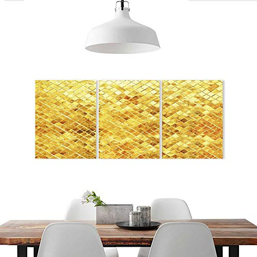 - Auraise-home Triptych Art Set Gold Texture Glitter Decorate Stickers for Wall