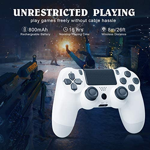 Wireless Game Controller Compatible with PS4/ Slim/Pro Console and Included USB Cable-White