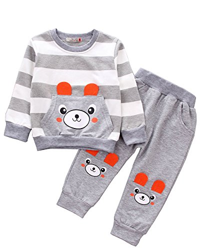 Kids 2 Pieces Fall Clothing Set T-Shirt Pants Outfits(Bear Grey,3-4 Years) ()
