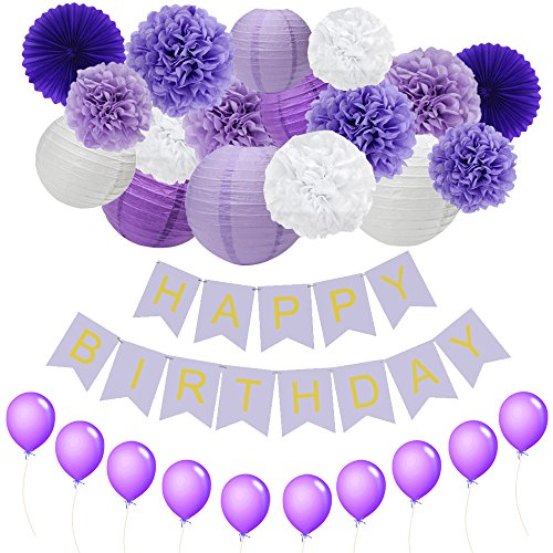 JUSLIN Pack of 28 Lavender Dark Purple White Paper Crafts Paper Pom Poms Paper Lanterns, Purple Paper Fans, Happy Birthday Bunting Banner, Perfect Party Decorations Paper Lanterns Craft