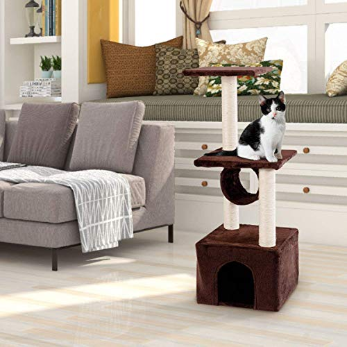 Tangkula Cat Tree Triple Platforms Cat Tower Furniture with Sisal-Covered Scratching Post Pet Climbing Condo (Coffee)