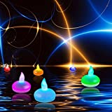 EchoAcc® Set of 12 Floating Flameless LED Candles, Colour Changing Mood Tea Lights Waterproof Wedding Holiday Christmas Xmas Party Decoration