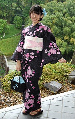 クレタ水陸両用長さ浴衣単品 菊黒地F仕立上り 仕立上りの浴衣 日本の夏美人