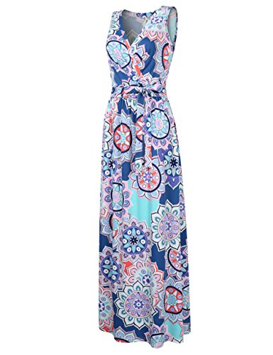 Bodice Crossover Dress (Leadingstar Womens Bohemian Printed Wrap Bodice Sleeveless Crossover Maxi Dress Purple Flower S)