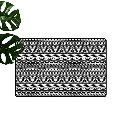 - Outdoor Doormat Afghan Tribal Shapes Pattern Antifouling W30 xL39