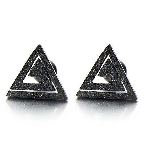 Black Triangle Spiral Earrings Stainless