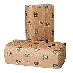Boardwalk Green Folded Towels, Multi-Fold, Natural, 9 1/8W x 9 1/2L, 250/Pack, 16/Carton