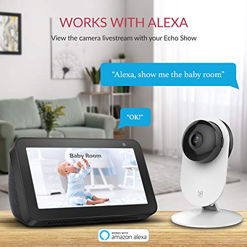 YI 1080p Smart Home Camera, Indoor IP Security Surveillance System with Night Vision, AI Human Detection, Activity Zone, Phone/PC App, Cloud Service - Works with Alexa