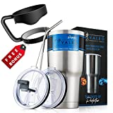 30 Oz Stainless Steel Tumbler, SPILL PROOF Travel Coffee Mug, Premium Double Wall Vacuum Insulated, No Leak Lid, Sliding Lid, Straw, Cleaning Brush, Ice 24 Hours, Hot 6 Hours, BPA Free, Eco Friendly …