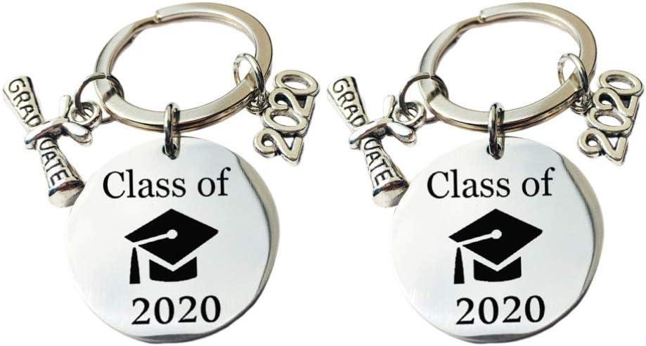 Amosfun 2020 Llavero de Regalo de Graduación Clase de 2020 Decoración Llavero Decoraciones de Fiesta de Graduación - Felicidades Regalo de Graduación para Estudiante Amigo 2 Piezas