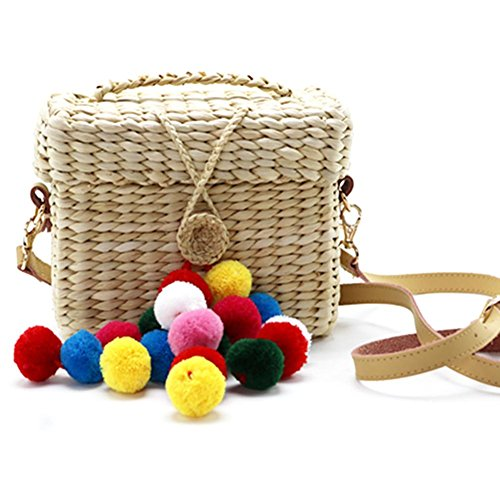 Hiking Beach Rectangle Camping Crossbody Bag Woven Ribbon Straw Bag Outdoor Travel Tote Bag for Beach Colorful Handbag Women 44n7xqz
