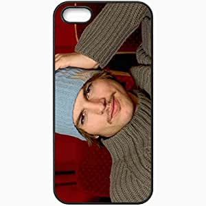 Personalized iPhone 5 5S Cell phone Case/Cover Skin Ashton Kutcher Hat Mustache Eyes Sweater Black