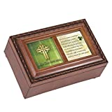 Cottage Garden May God Give You Celtic Cross Petite Woodgrain Music Musical Jewelry Box Plays Amazing Grace