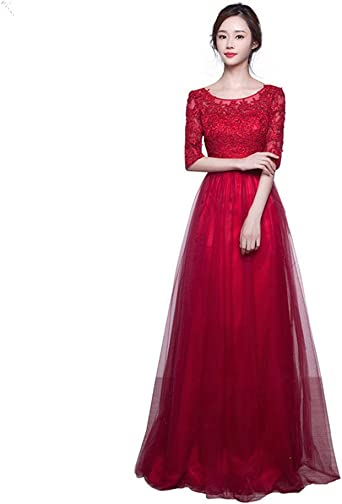 ydydf,half sleeve lace red grey long women evening dresses