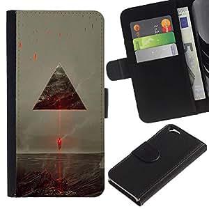 LECELL--Cuero de la tarjeta la carpeta del tirón Smartphone Slots Protección Holder For Apple Iphone 6 -- Sci Fi Triángulo del vehículo espacial --