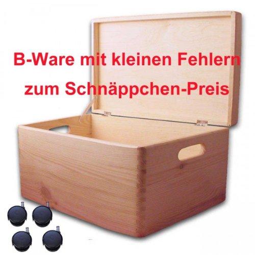 B-Ware, Aufbewahrungsbox/ Holzkiste mit Deckel und Grifflöchern Kiefer, Gr. 5, mit Rollen