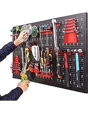 Gereedschapshouder voor wandmontage, voor werkplaats, geperforeerde plaat van metaal, met 17-delige haakset, 120 x 60 x 2 cm