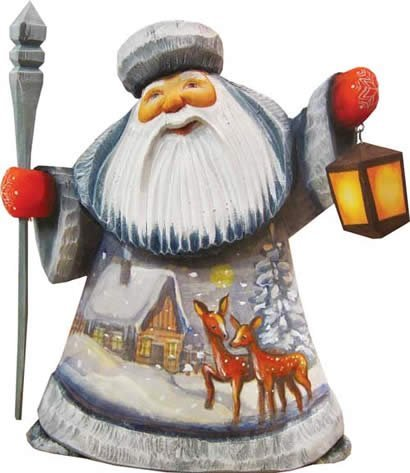 G. Debrekht Kind Dears Father Frost Hand-Painted Wood Carving