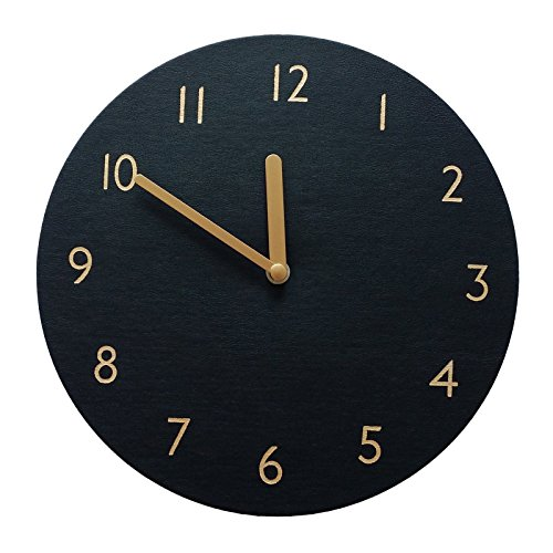 thehaki Decorative Wall Clock Silent & Non-Ticking Quartz Clock PU Leather Lightweight 0.4lb Round 9